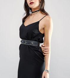 Retro Luxe London Studded Ring Pull Leather Waist Belt - Black