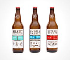 """""""Initially bottling a lineup of 3 favorite recipes (perfected over the the last 20 years), I created a packaging system designed for contrast and clarity on today's shelves. Auditing the current 22oz craft beers on most PNW shelves, the labels had a hectic and uncomposed feeling to them, with very little retention of brand image from one bottle to the next."""