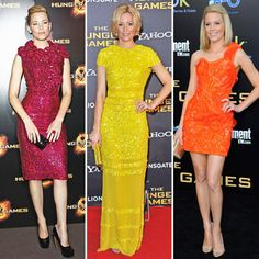 Elizabeth Banks at The Hunger Games premieres in Paris, London, and LA wearing a sparkly rose-embellished Marc Jacobs sheath from his Fall 2012 show, a bright yellow floor-length Bill Blass number, and a neon orange Atelier Versace minidress with Jimmy Choo heels.