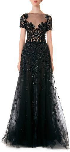 Zuhair Murad Illusion Beaded Full Tulle Gown #black #wedding #dress
