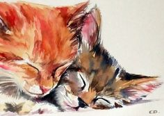 Chats en amour fine art imprimé de ma peinture par christydekoning, $5.00