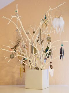 jewelry tree, fill the box with sand or rocks to secure the branches