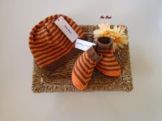 Hand Knitted Striped Baby Cotton Hat and Bootee Set  by MooMush