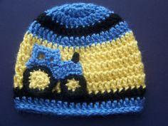 Crochet+Baby+Boy+Hat+Blue+Tractor+Hat+Infant+by+crochethatsbyjoyce,+$15.00