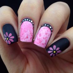 """@infinitelypolished on instagram - For #nailartfeb """"Florals"""" Decided on simple pink daisies to compliment the salt watercolor ruffian nails inspired by @spektorsnails #amazingnaildesigns"""