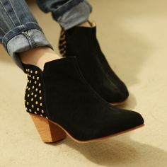 2012 new style boots rivets decorate super comfortable small chunky heels boots leather womens boots leather