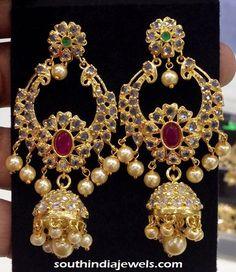 Artificial Jewellery uncut stone chandbali Jhumka