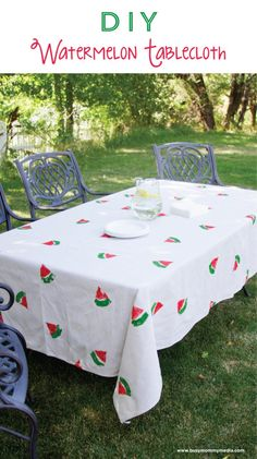 DIY Watermelon Tablecloth on www.busymommymedia.com | This is such a fun project for summer and it looks so easy!