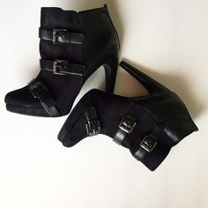 Ankle booties  Buckle strap detail • adorable look for fall • comfortable heel • zip on interior side • wear on back of heels, not noticeable when worn but pictured! Shoes Ankle Boots & Booties