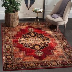 Bloomsbury Market Fitzpatrick Oriental Red Area Rug Rug Size: Rectangle x Oriental Pattern, Oriental Rug, Persian Motifs, Traditional Area Rugs, Red Rugs, Accent Rugs, Online Home Decor Stores, Cheap Home Decor, Rugs Online