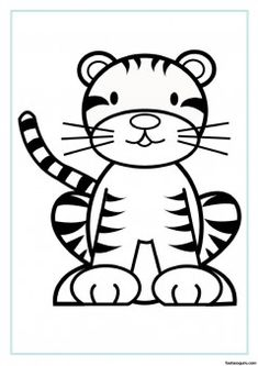 Free printable animal tiger baby colouring sheet for kids - Printable Coloring Pages For Kids