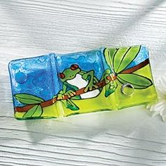 Fused Glass Rain Forest Frog Tray