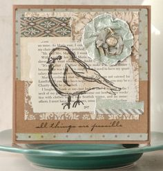 Autumn Simmons Clark combines old book pages and homemade paper embellishments for these cards inside The Stampers Sampler.
