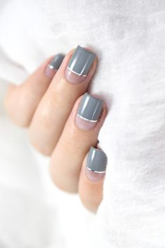 Marine Loves Polish: Kinetics - Iceland Grey - negative space nail art - striping tape