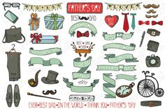 Fathers day doodle vintage set by Tatiana Kost design on Creative Market