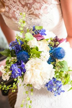 Green, blue, and white bridal bouquet // Enchanted Florist // Dove Wedding Photography // http://www.theknot.com/submit-your-wedding/photo/e47b189b-bb86-4358-b0e7-f5eb50abc433/Nashville-naturally
