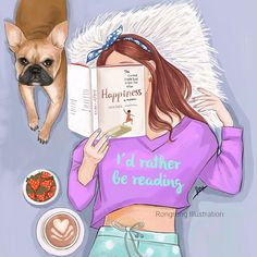 This is what a dream Sunday looks like: Books, dogs, coffee and naps! Book- Happy by Heather Harpham is recommended by Are you a book lover? What's your favorite books and why? I would love to check them out! Girly M, Illustration Art, Illustrations, Girly Drawings, Fashion Design Drawings, Fashion Wall Art, Girly Pictures, Illustrators On Instagram, Girl And Dog