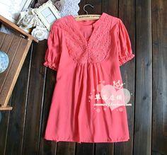 2013夏季新款日系修身泡泡袖蕾丝领口小包扣 短袖衬衫 衬衣 女-淘宝网