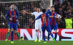 Lionel Messi of Barcelona (10) celebrates as he scores their third goal from a penalty with Neymar (11) during the UEFA Champions League Round of 16 second leg match between FC Barcelona and Paris Saint-Germain at Camp Nou on March 8, 2017 in Barcelona, Catalonia.