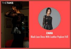 Zara Black Lace Dress With Leather Peplum Frill as seen on Zoe Reynard in Addicted | TheTake