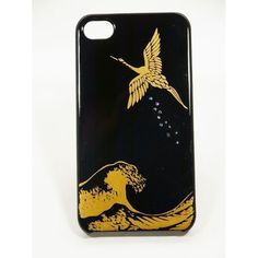 Maki-e iPhone 4/4S Cover Case Made in Japan - Tsuru to Nami (Crane with Waves)