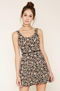 Belted Floral Skater Dress