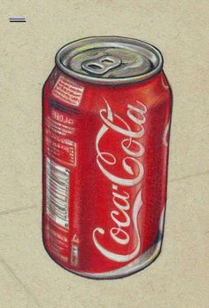 Pencil Drawing Tutorials Drawing of a can of coke. Done with pencil crayons and a black pen. I have used watercolour-pencils for the great depth of colour they give to the reds. Cool Art Drawings, Pencil Art Drawings, Realistic Drawings, Colorful Drawings, Art Sketches, Watercolour Pencil Art, Horse Drawings, Colored Pencil Artwork, Colored Pencils