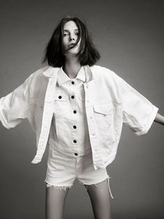 Catherine McNeil polo/top + denim shorts + style + all white