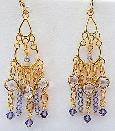 Purple gold earrings, purple gold jewelry, chandelier earrings, chandelier jewelry, clear crystals, lilac crystals, amethyst crystals, + by EarringsBraceletsEtc on Etsy