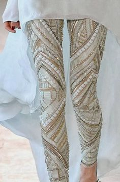 holy moly i need these pants yesterday!. love paired with chiffon shirt. breaks up the heaviness of the pants.