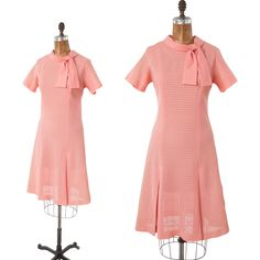 60s Coral Pink Shift Dress, Vintage Scooter in Lacy Fabric, Spring Summer