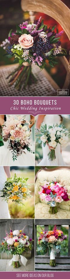 30 Bohemian Wedding Bouquets That Are Totally Chic ❤Bohemian wedding bouquets are full of whimsical details, wild flowers and feathers. This inspiration gallery of boho-chic wedding bouquets is sure to create an amazing vibe. See more: http://www.weddingforward.com/bohemian-wedding-bouquets/ #wedding #bouquet