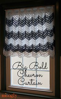 If you're looking for a longer curtain, it's easy to just keep adding rows in the pattern… all the way to the floor if you like! If your window is a lot wider, make 2 and they'll open like traditional panel curtains. The Big Bold Chevron Curtain is the perfect crochet curtain pattern for the bath, bedroom, kitchen, living room - any room of the house!