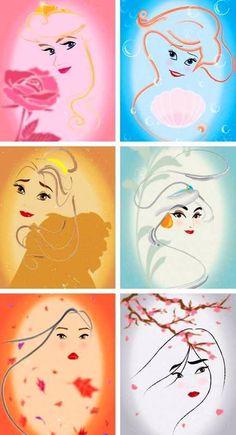 Disney princesses cartoon illustration via www.Facebook.com/DisneylandForMisfits