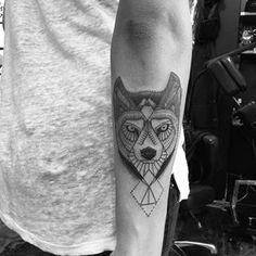 A wolf tattoo done in simple black lines by Jon Boy in his distinct style Wolf Tattoos, Tatoos, Jonboy Tattoo, John Boy, Under My Skin, Minimal Tattoo, Future Tattoos, Skin Art, Tattoo Inspiration