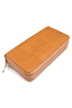 Two-Tone Double Zipper Wallet