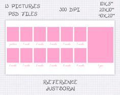 Storyboard Plantilla Foto collage 10x5 20x10 40x20 pulgadas rosa y celeste (13 fotos) ref justborn de JuanmiDesigns en Etsy