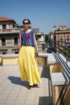 #yellow#maxi#skirt#zara#red_ #necklace#street#style