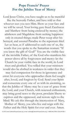 Jubilee Year of Mercy - Official Prayer of Pope Francis