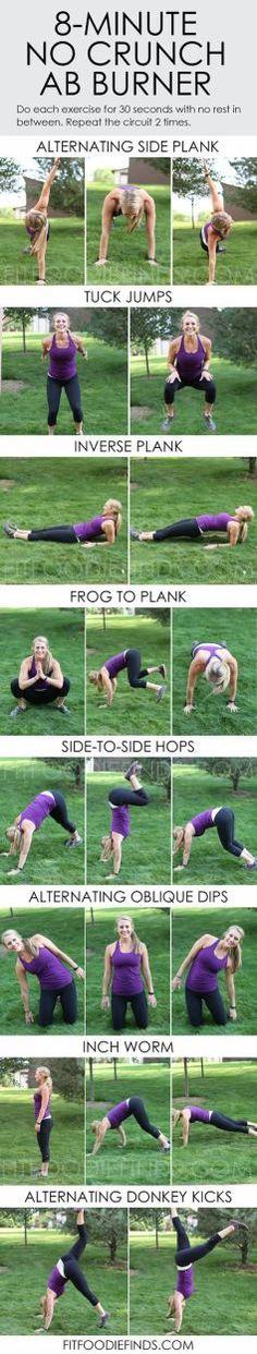 8 Minute No Crunch Ab Burner via FitFoodieFinds.com #workout #fitness