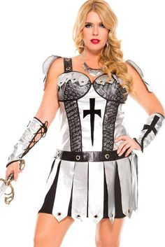 """<p>Grab your sword and become a Hot Knight in this<a title=""""Sexy Costumes"""" target=""""_self"""">sexy costume</a>by Music Legs. This plus size <strong>Medieval knight women's costume</strong> is perfect to go to battle and become a shield maiden at your next medieval themed fancy dress party. See below for further details and sizing.</p>"""