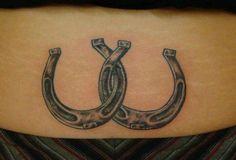 Horseshoe tattoo/Wesley Woods W Bff Tattoos, Cowgirl Tattoos, Western Tattoos, Clover Tattoos, Couple Tattoos, Body Art Tattoos, Small Tattoos, Tatoos, Henna Tattoo Designs