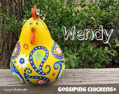 chickens gourd art, paisley, painted gourds, chicken, hen, gourd, yellow, navy blue, green, orange