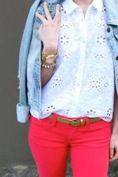 red denim / eyelet blouse / denim jacket