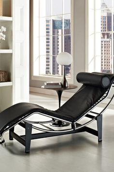 Le Corbusier LC4 Genuine Leather Lounge Chair - Black by Modway on @HauteLook