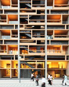Mokuzai kaikan office by Tomohiko Yamanashi and Takeyuki Katsuya, nikken sekkei, shinkiba, Tokyo, Japan