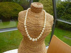 Necklace Swarovski crystal pearls in light cream by violetsparks, £25.00