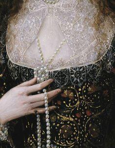 wycherley:  Robert Peake the Elder (ca. 1551–1619), Lady Anne Pope (detail), 1615