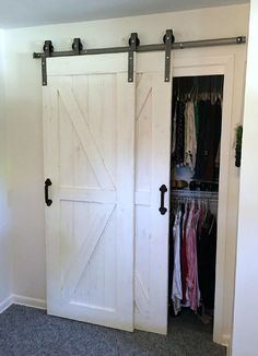 This Single Track Bypass Barn Door Hardware Kit allows two doors to over-lap eac. - This Single Track Bypass Barn Door Hardware Kit allows two doors to over-lap each other so they are - Bypass Barn Door Hardware, Rustic Hardware, Door Hinges, Door Latches, Window Hardware, Black Door Hardware, Barn Door Closet, Sliding Closet Doors, Double Closet Doors