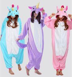 Miễn phí vận chuyển 2016 Bán Buôn New Adult Unisex Flannel Hoodie Pony Unicorn Đồ Ngủ Costume Cosplay Animal Onesies Ngủ